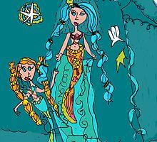 Mermaid Having A Shower by Millie Wegner
