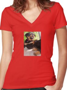 Grumpy Faced Rottweiler Puppy Lashes Out Women's Fitted V-Neck T-Shirt