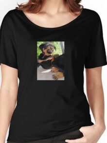 Grumpy Faced Rottweiler Puppy Lashes Out Women's Relaxed Fit T-Shirt