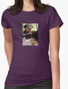 Grumpy Faced Rottweiler Puppy Lashes Out Womens Fitted T-Shirt