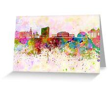 Geneva skyline in watercolor background Greeting Card