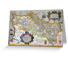 Ortelius Map of Portugal(Porvgalliae)Geographicus Portugalliae ortelius 1587 Greeting Card