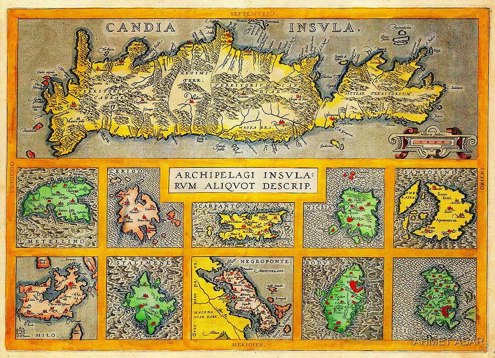 Ortelius Map of Crete (Candia) and 10 Greek Islands Geographicus CandiaInsula ortelius 1584 by MotionAge Media