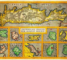Ortelius Map of Crete (Candia) and 10 Greek Islands Geographicus CandiaInsula ortelius 1584 by Adam Asar