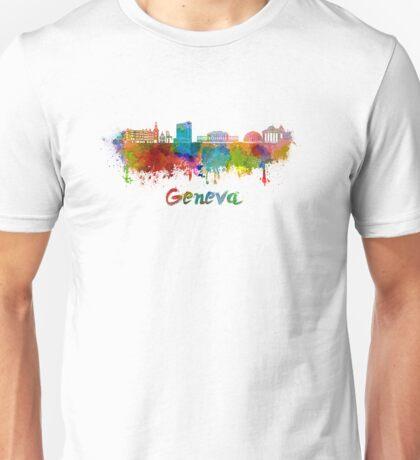 Geneva skyline in watercolor Unisex T-Shirt