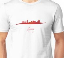 Genoa skyline in red Unisex T-Shirt