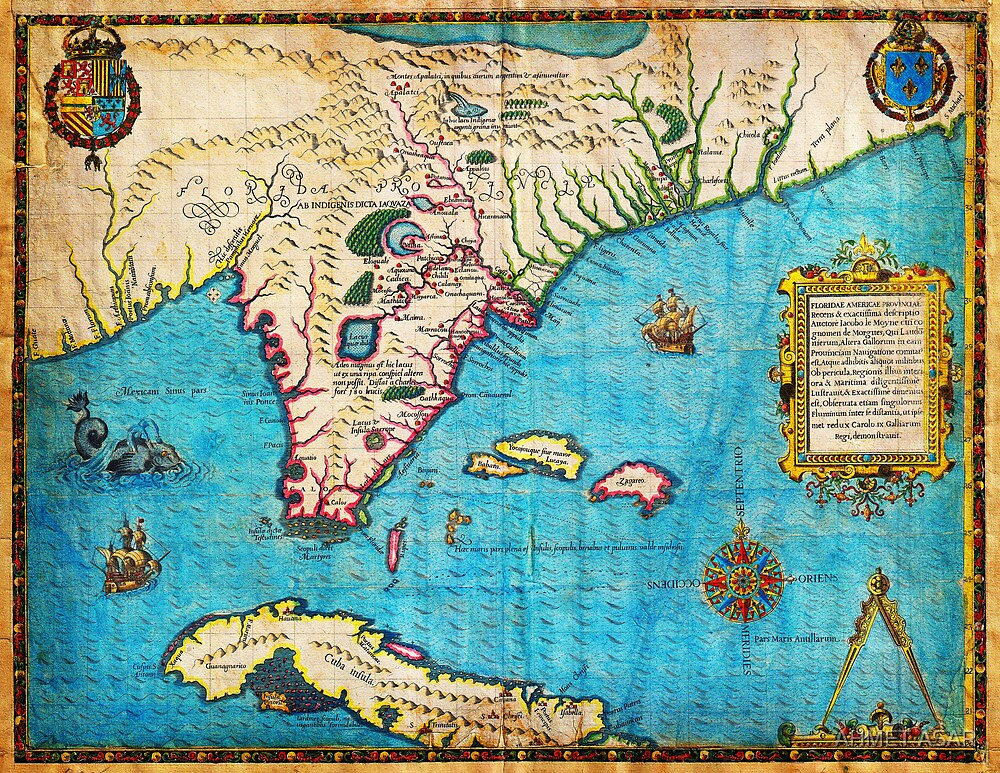 1591 De Bry and Le Moyne Map of Florida and Cuba Geographicus Florida debry 1591 by Adam Asar