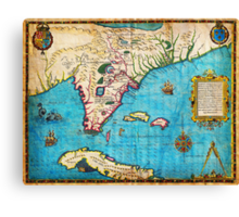 1591 De Bry and Le Moyne Map of Florida and Cuba Geographicus Florida debry 1591 Canvas Print