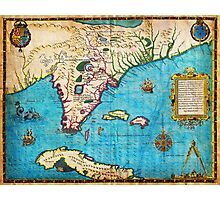 1591 De Bry and Le Moyne Map of Florida and Cuba Geographicus Florida debry 1591 Photographic Print