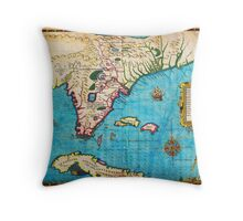 1591 De Bry and Le Moyne Map of Florida and Cuba Geographicus Florida debry 1591 Throw Pillow