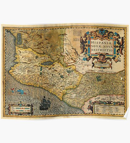 1606 Hondius_and Mercator Map of Mexico Geographicus HispaniaeNovaMexico mercator 1606 Poster
