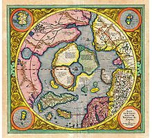 1606 Mercator Hondius Map of the Arctic First Map of the North Pole Geographicus NorthPole mercator 1606 Photographic Print