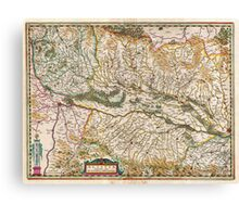 1644 Jansson Map of Alsace Basel and Strasbourg Geographicus AlsatiaSuperior jansson 1644 Canvas Print