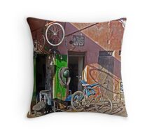 Arabic Cycle Repair Shop Throw Pillow