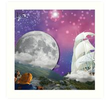 Meditation Moon Star and Flying Ship  Art Print