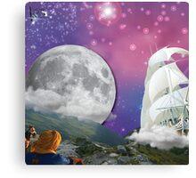 Meditation Moon Star and Flying Ship  Canvas Print