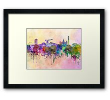 Glasgow skyline in watercolor background Framed Print