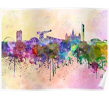 Glasgow skyline in watercolor background Poster