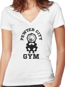 Pewter City Gym Women's Fitted V-Neck T-Shirt