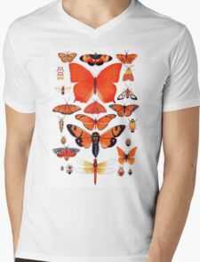 Orange Insect Collection Mens V-Neck T-Shirt