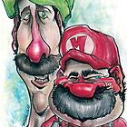 Mario Brothers Family Portrait by Tom Faraci