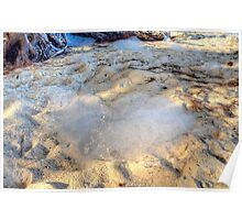 Sea Foam flying all over, like cotton, at Yamacraw beach in Nassau, The Bahamas Poster