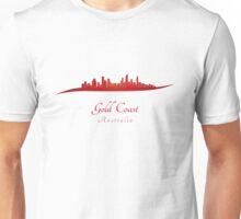 Gold Coast skyline in red Unisex T-Shirt