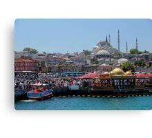 Looking up from the Bosphorus toward the Süleymaniye Mosque, Istanbul Canvas Print