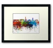 Gothenburg skyline in watercolor background Framed Print