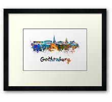 Gothenburg skyline in watercolor Framed Print