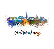 Gothenburg skyline in watercolor Photographic Print