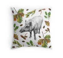 Wild boar with oak leaves Throw Pillow