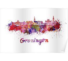 Groningen skyline in watercolor Poster