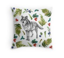 Wolf with fern and berries Throw Pillow