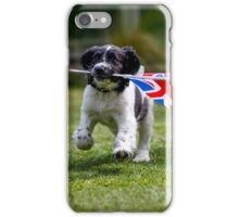 English Springer Spaniel Puppy with flag iPhone Case/Skin