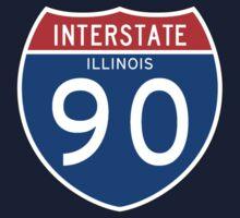 Interstate Sign 90 Illinois, USA Kids Tee