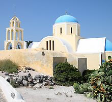 Church on a Bright Afternoon, Oia, Santorini by Carole-Anne