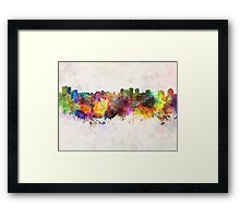 Halifax skyline in watercolor background Framed Print