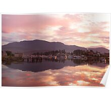 Sunset over Lindisfarne Bay, Hobart Poster