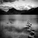 Rocks in a row in monochrome, Lake Buttermere, Lake District by Elana Bailey
