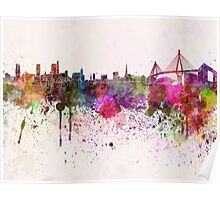 Hamburg skyline in watercolor background Poster