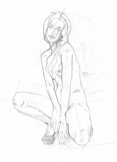 Nude pencil sketch by mik gailson
