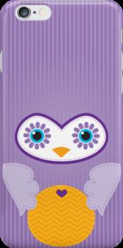 IPhone :: cute owl face - purple by Kat Massard