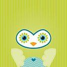 IPhone :: cute owl face - lime green by Kat Massard