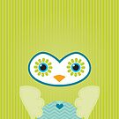 IPhone :: cute owl face - lime green by Kat Massard