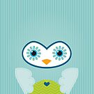 IPhone :: cute owl face - mint green by Kat Massard
