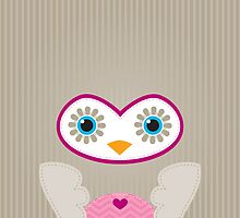 IPhone :: cute owl face - brown / pink by Kat Massard