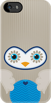 IPhone :: cute owl face - brown / blue by Kat Massard