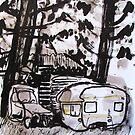 old car and caravan by donnamalone