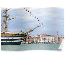 Tall Ship in Venice Poster